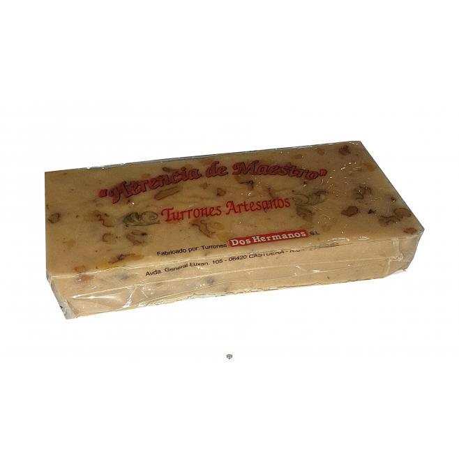 Turrón de nata con nueces artesano DOS HERMANOS 450 gr.