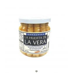 Yemas de espárragos blancos finos, LA HUERTA DE LA VERA, peso escurrido 110 gr.