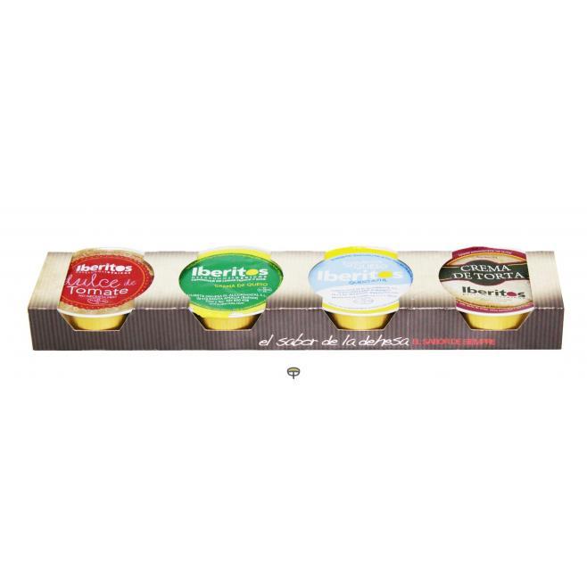 Paté, Dulce Tomate - Crema Torta - Crema Queso - Crema Queso Azul, IBERITOS, 4x25 gr.