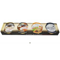 Paté de sardinas, paté de atún, paté de bacalao con ajo y paté de salmón ahumado IBERITOS 4x25 gr.