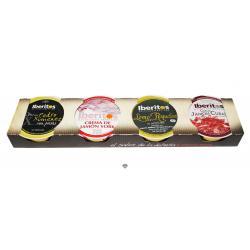 Paté de crema jamón york,  Pedro Ximenez con pasas, crema de jamón curado y paté de lomo con roquefort IBERITOS 4x25 gr.