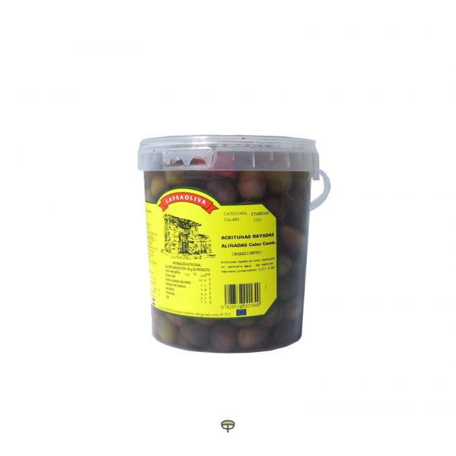 Aceitunas rayadas aliñadas color cambiante LAYSAOLIVA 800 gr.