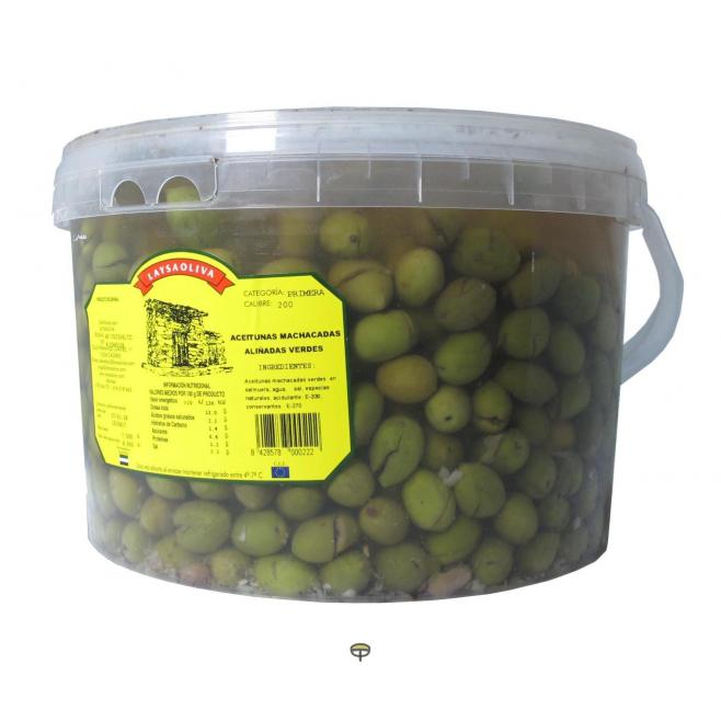 Aceitunas machadas aliñadas verdes LAYSAOLIVA 4,5 kg.