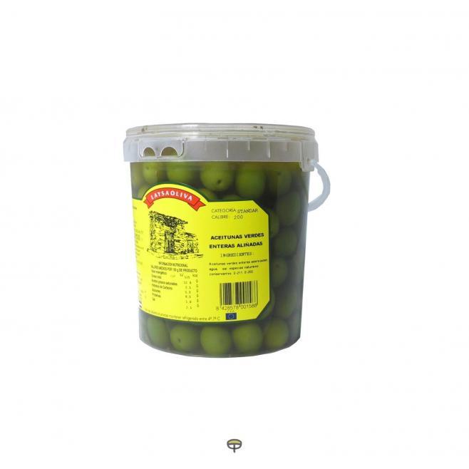 Aceitunas verdes enteras aliñadas LAYSAOLIVA 800 gr.