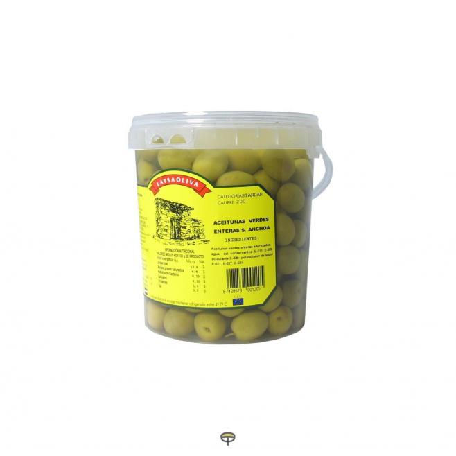 Aceitunas verdes enteras sabor anchoa LAYSAOLIVA 800 gr.