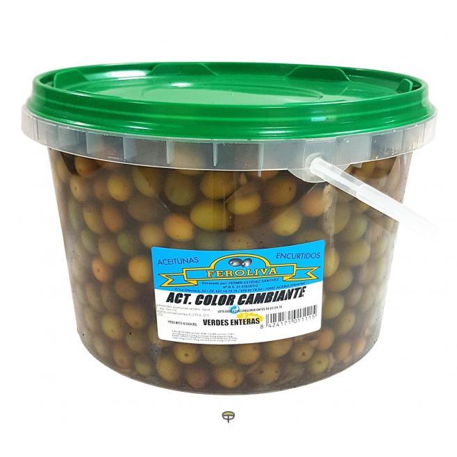 Aceituna aliñada verde entera FEROLIVA, peso escurrido 4.5 kg.